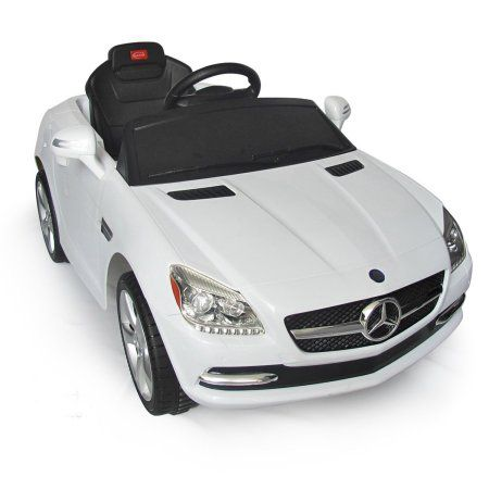 White Mercedes Benz Slk Rc Kids Electric Ride On Car Lights And Sound