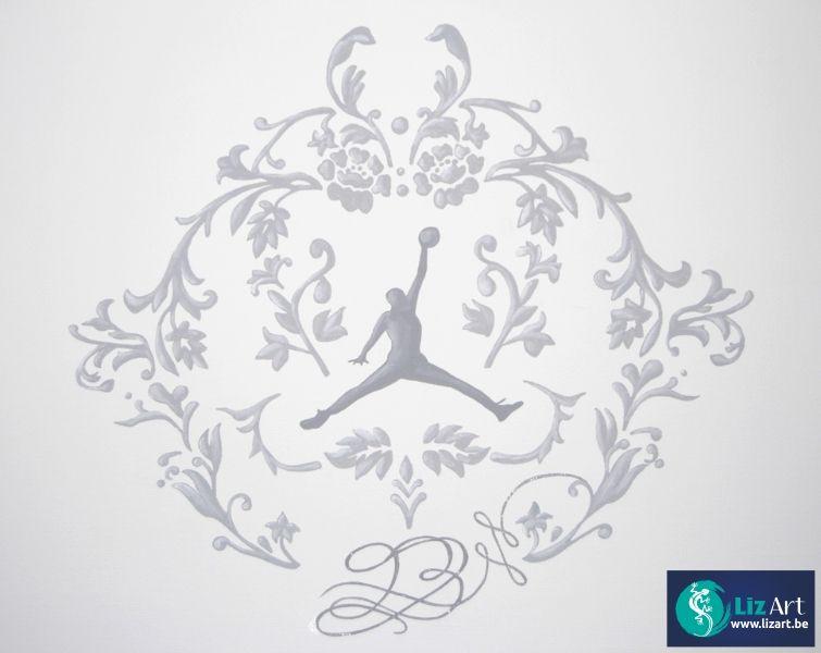 Decoratieve muurschildering van een basketballer
