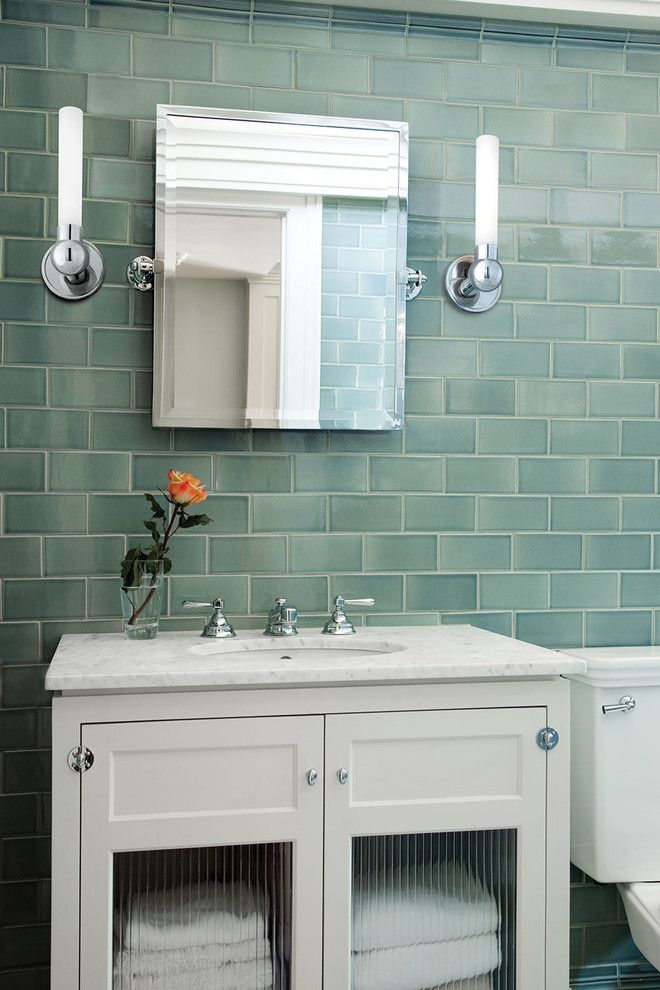 Sea Glass Tile Bathroom Contemporary With Accent Colors Bath