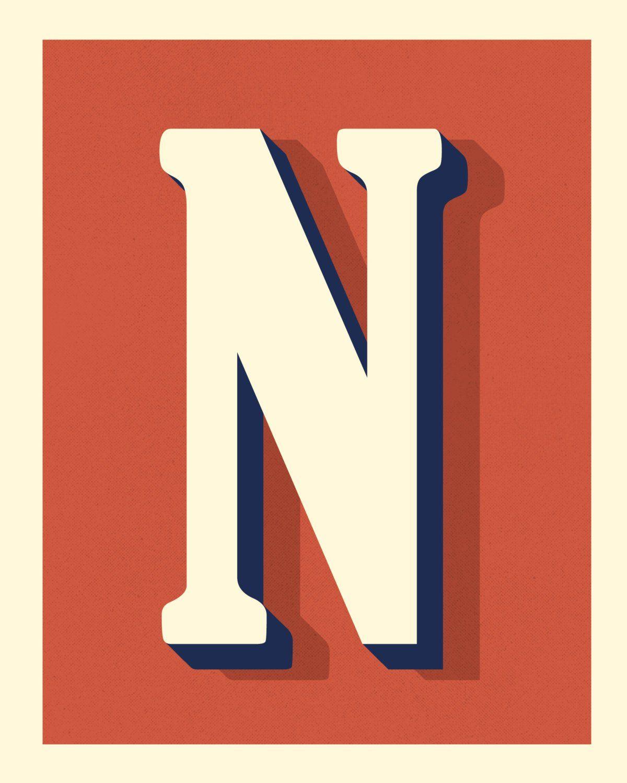 The Letter N Original Art Print Typography Alphabet Red