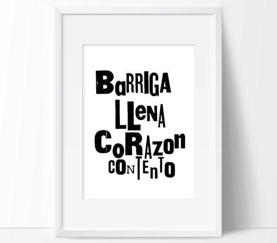 "10 x 12""  Barriga Llena Corazon Contento (vertical or horizontal)—Original Limited-Edition Letterpress Print"