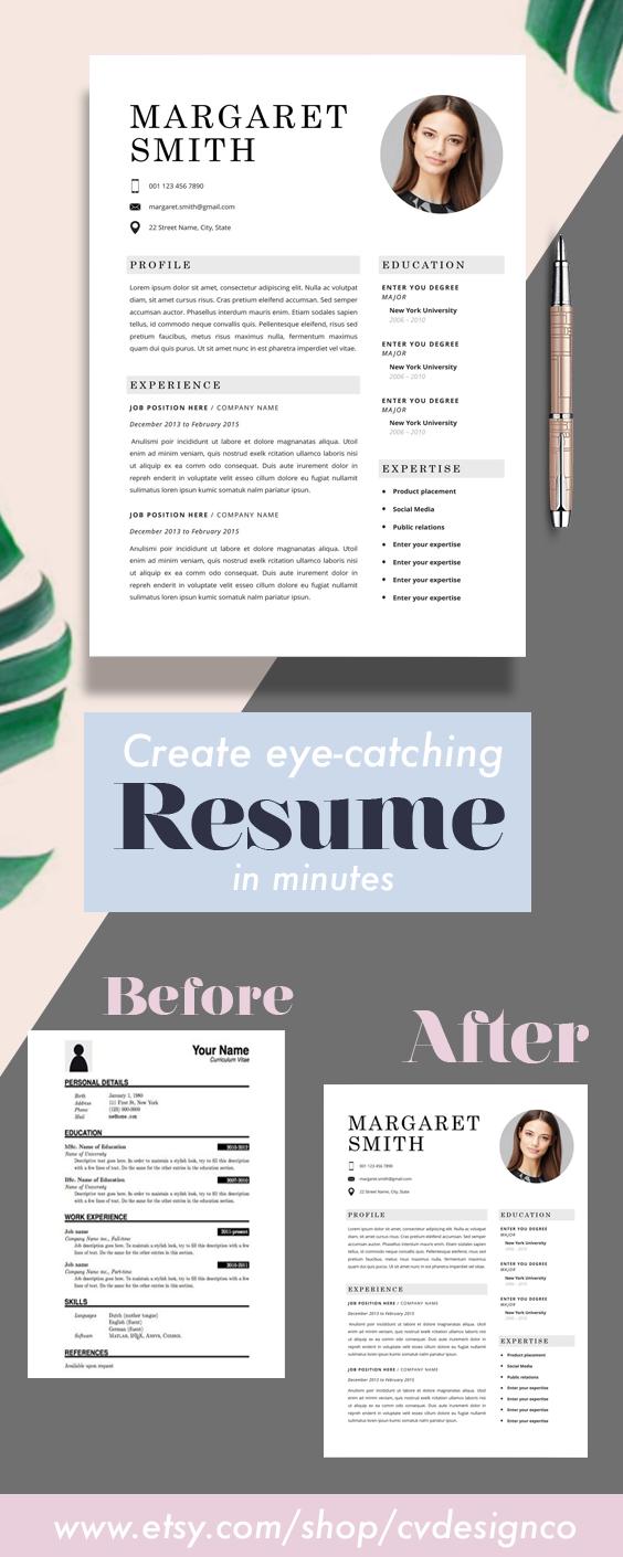 Universal Classic Resume Template Cv Template Instant Etsy Resume Template Creative Cv Template Cv Template