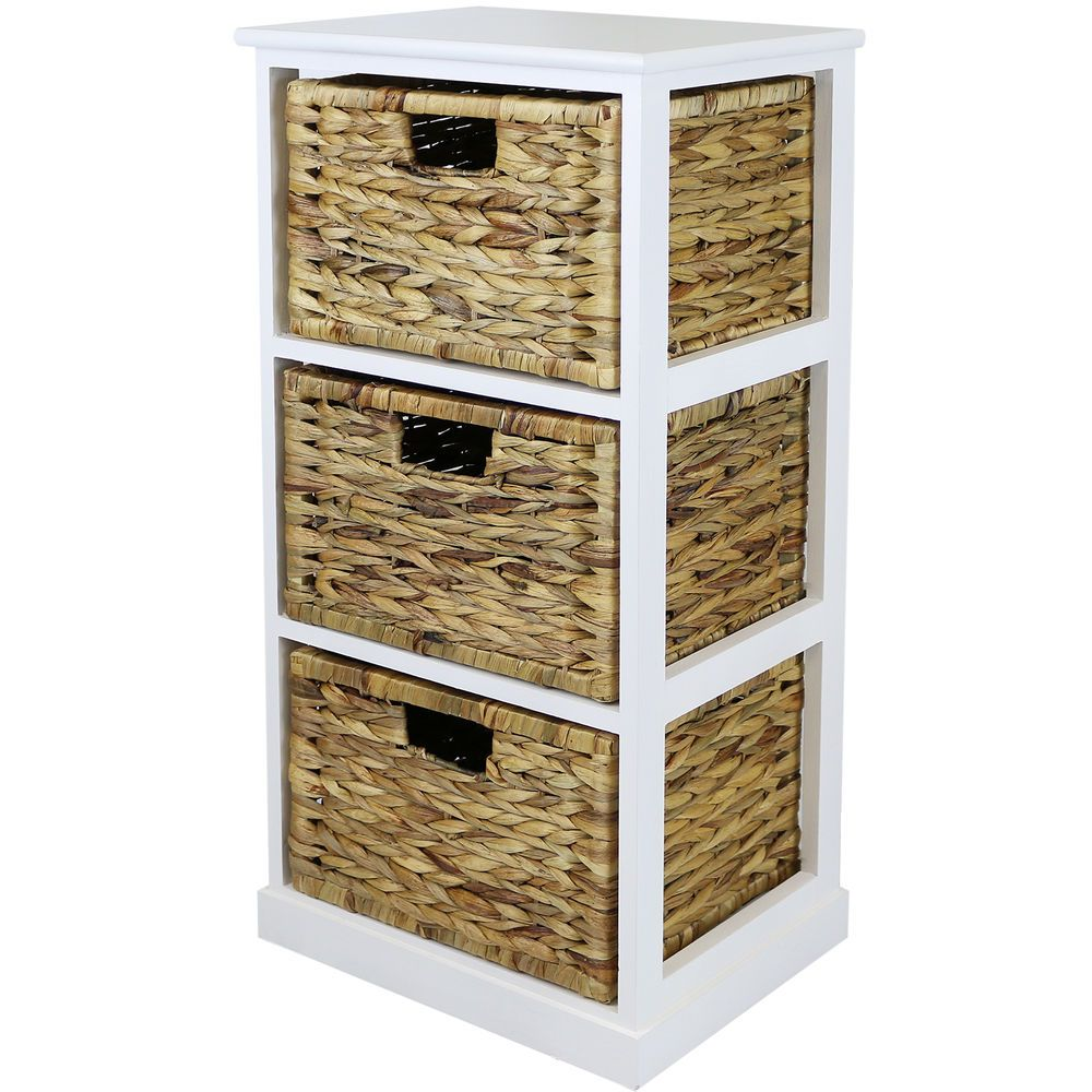 HARTLEYS WHITE 3 BASKET CHEST HOME STORAGE UNIT WICKER DRAWERS/CABINET  BATHROOM In Home,