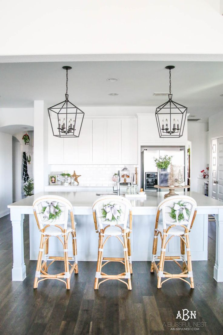 Blue and silver christmas kitchen home tour kitchen