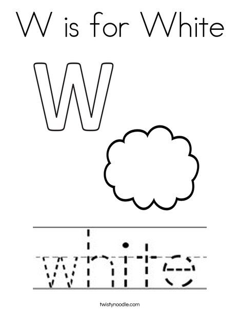 Photo of W is for White Coloring Page