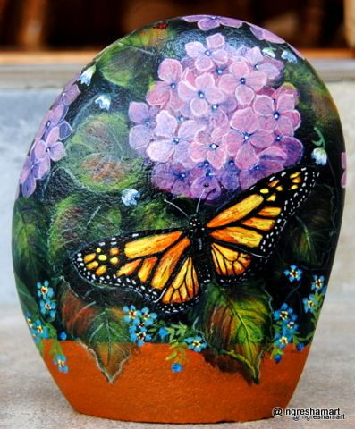 butterflies, handpainted rock, art, patio decor, gifts for women