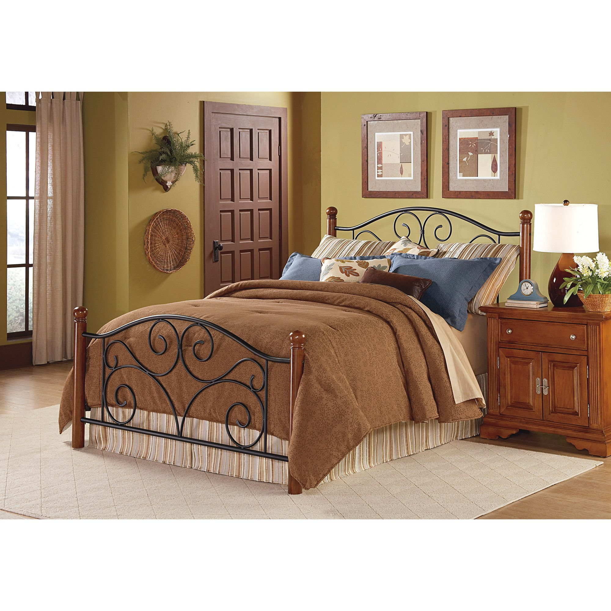 This steel and wood queensize bed will add elegance and