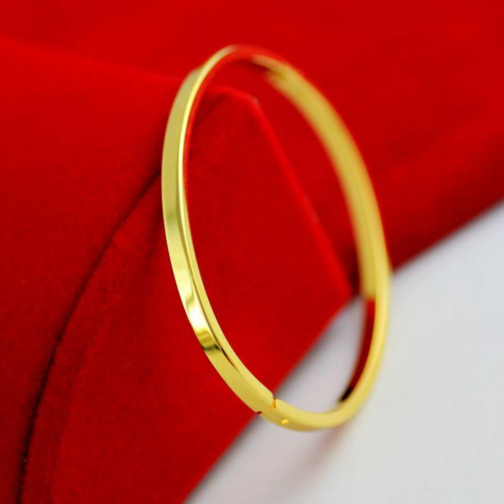 Click to buy ucuc smooth oval bangle solid yellow gold filled womens