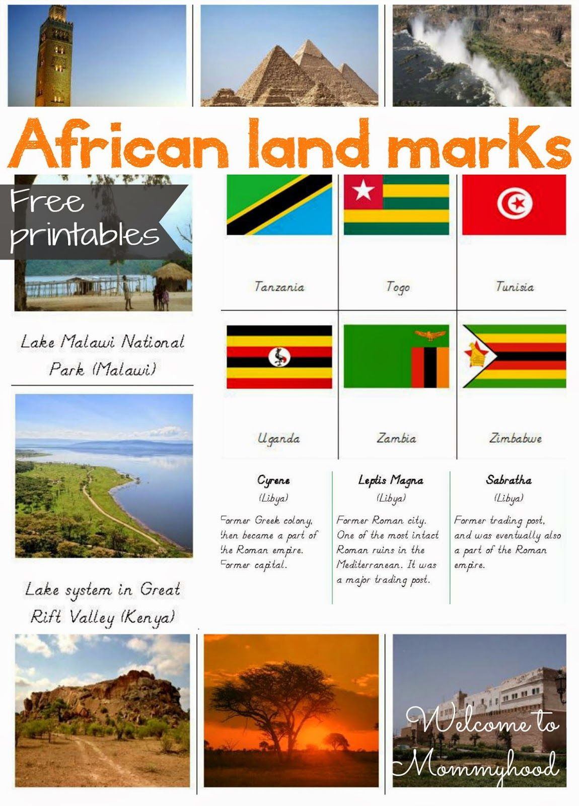 FREE PRINTABLES: African Landmarks And African Flag Cards