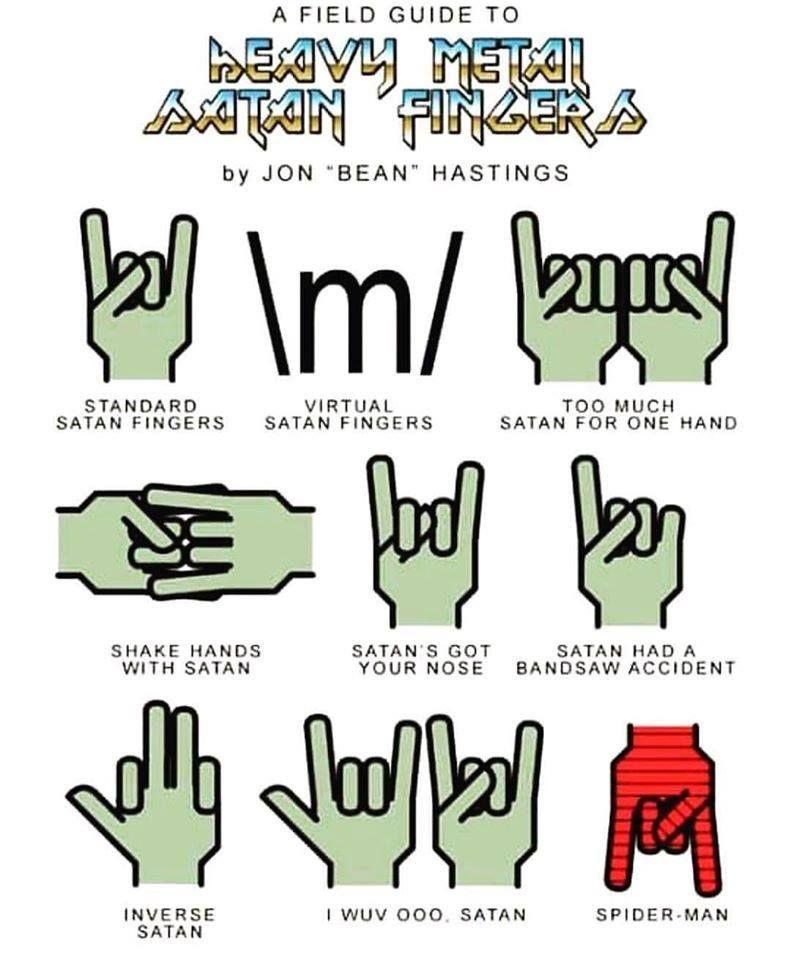 A Field Guild To Heavy Metal Satan Fingers By Jon Bean Hastings