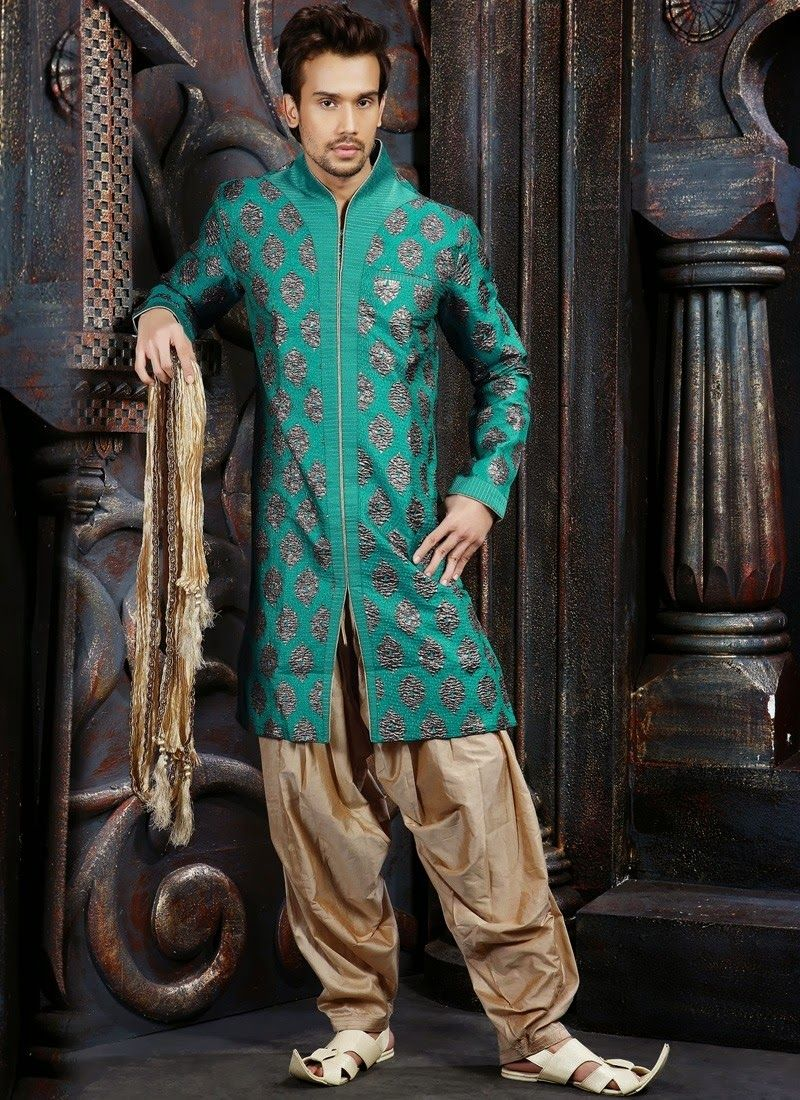 Sherwani Collection in Silk, Brocade, Pure Cotton with embroidery ...