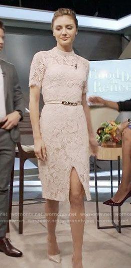 4d338e8986 Megan s blush pink lace dress on The Arrangement. Outfit Details  https