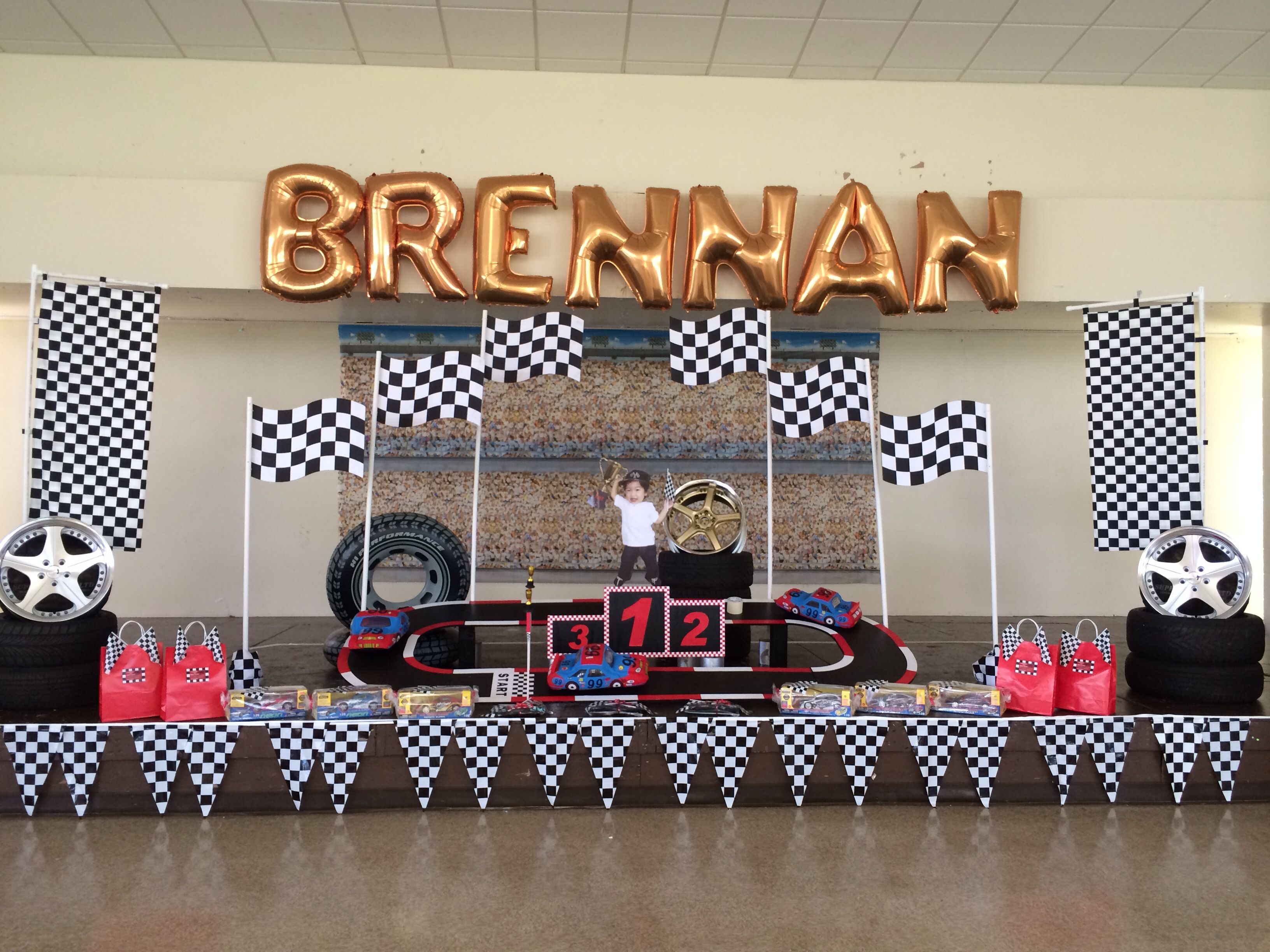 Race Car Stage Backdrop Set Up Car Themed Parties Cars Theme