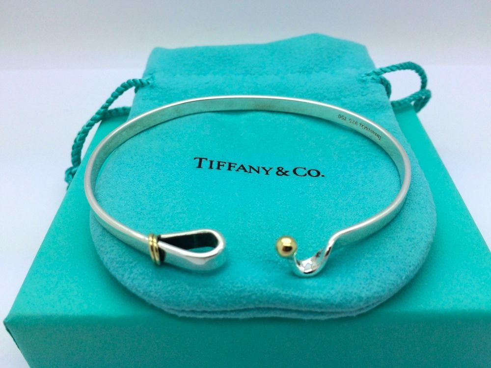0b6b806d1 Tiffany & Co 18k & 925 sterling silver Hook Bangle - 100% Real & Authentic  - No Fakes