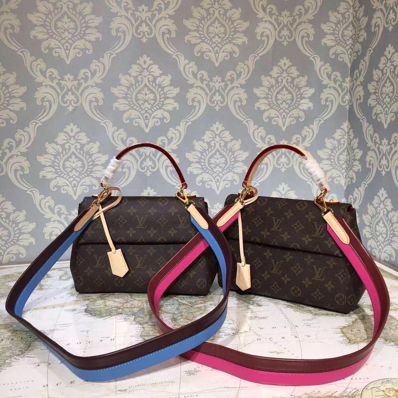 40866d0cabf8 Louis Vuitton Monogram Canvas Cluny BB Bag M42738 2016 (Fuchsia Burgundy  Strap)