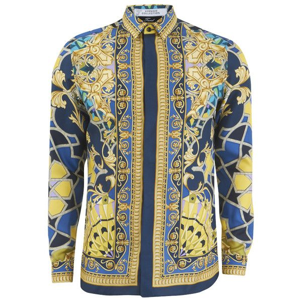 6e223c58 Versace Collection Men's Silk Printed Shirt - Blue (2.080 RON) ❤ liked on  Polyvore featuring men's fashion, men's clothing, men's shirts, men's casual  ...