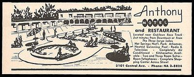 Anthony Motel Ad Hot Springs Arkansas AC Pool TV 1964 Roadside Ad Travel