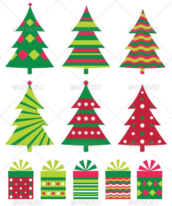 Christmas Trees Vector Collection Christmas Tree Cards Christmas Vectors Christmas Tree Set