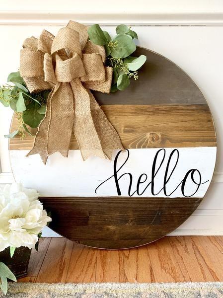 Photo of Hello Round Door Sign #woodcrafts Hello Round Door Sign – The Rustic Peach