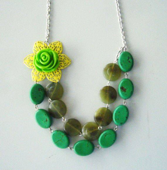 Green flower necklace bridal green romantic green by stavroula, $35.00