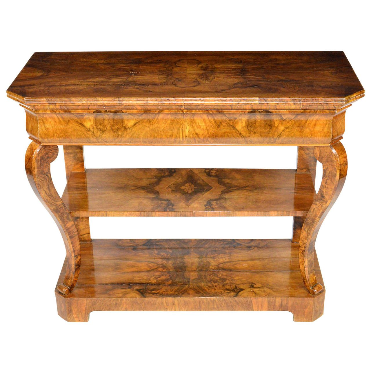 19th Century Biedermeier Burl Wood Veneered Console Table From A Unique Collection Of Antique And