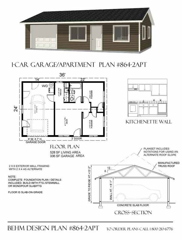 Garage with apartment plan 864 2apt 36 39 x 24 39 by behm for Small garage apartment plans