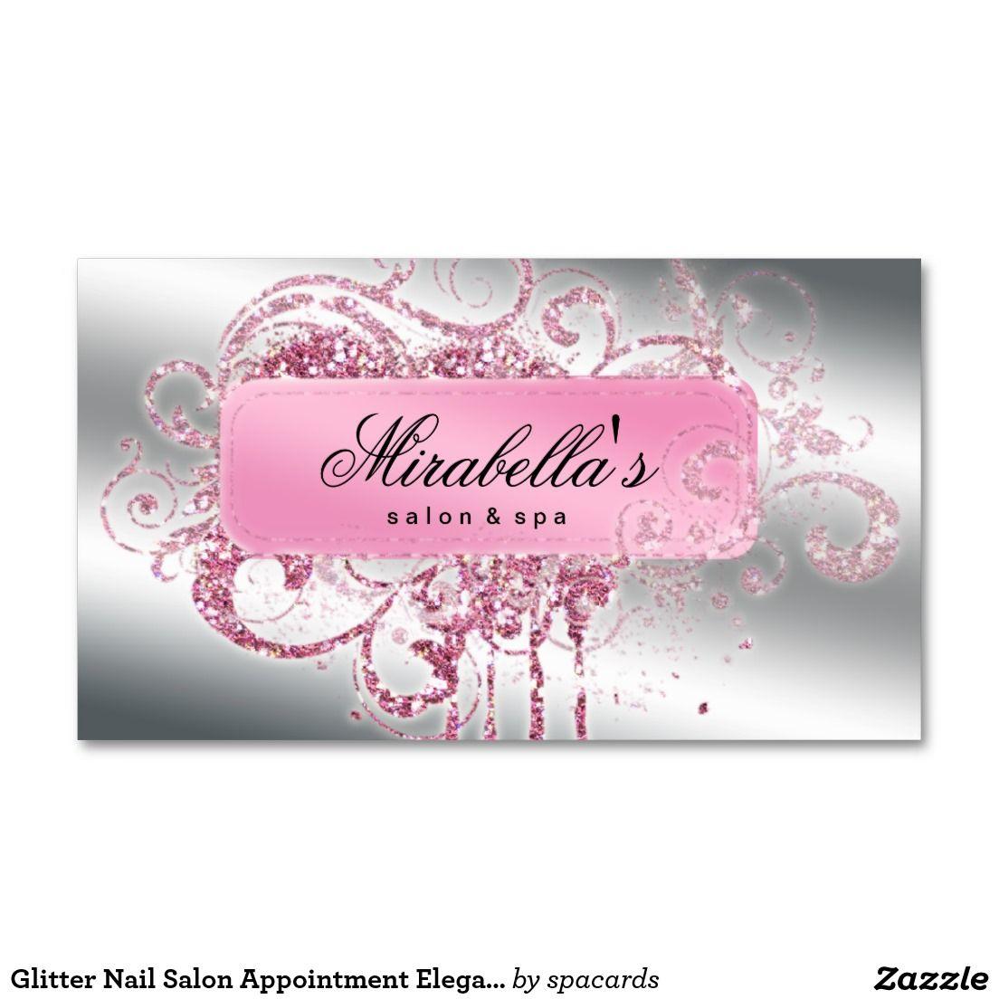 Glitter Nail Salon Appointment Elegant Bling Business Card | Nail ...