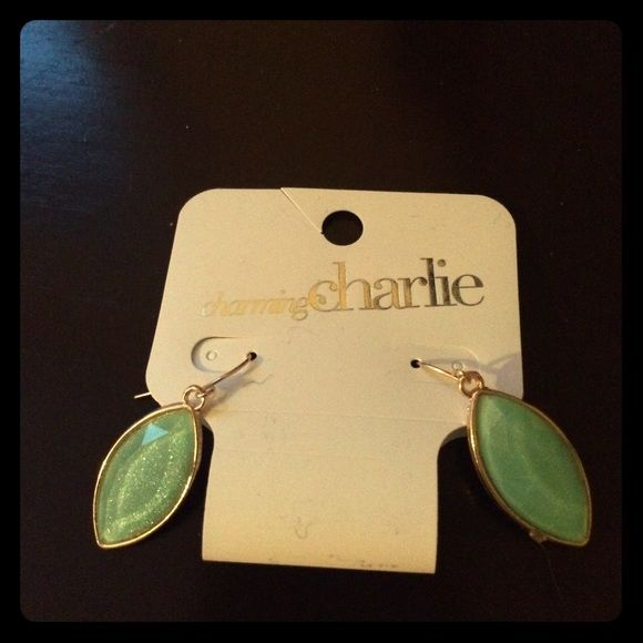 Charming Charlie Earrings Shimmery green dangling earrings.  Purchased as a set with matching necklace.  Necklace not included.  In new condition; never used. Charming Charlie Jewelry Earrings