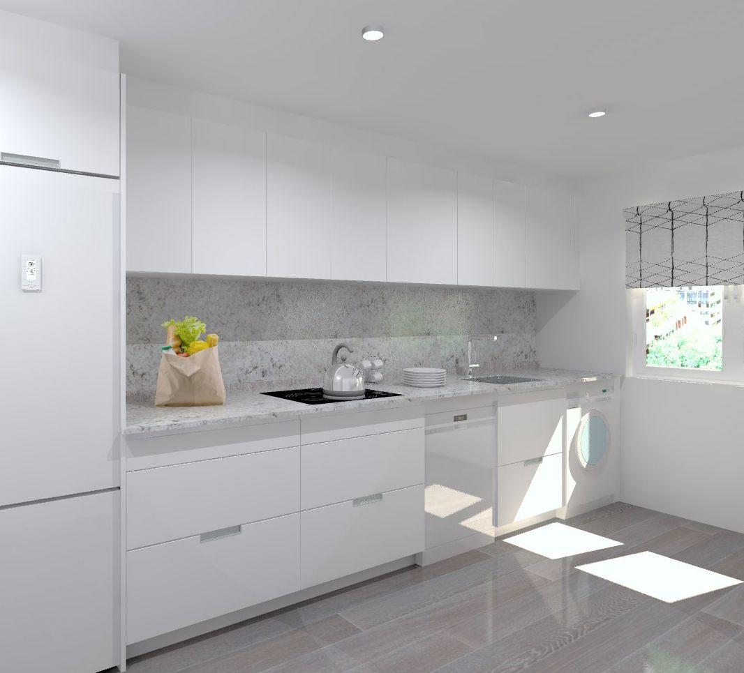 Modelo minos estratificado blanco encimera granito - Exposicion de cocinas modernas ...