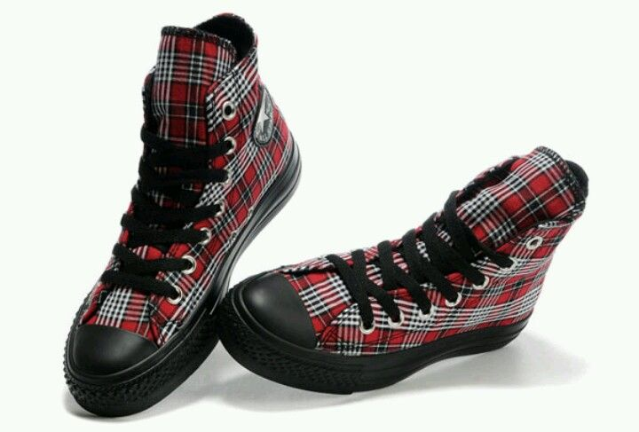 bc11327206beb3 Red plaid converse high tops. Oh yeah.