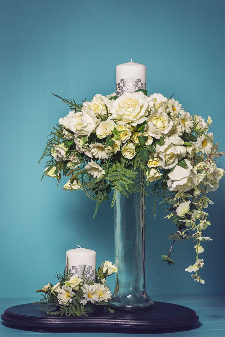 Formal Silk Flower Arrangement With Candles In Glass Vase Silk