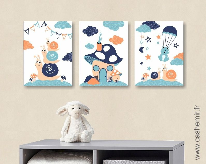 Lot de 3 illustrations pour chambre d 39 enfant gar on for Chambre bebe 13 mois