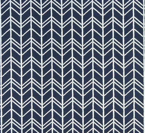 Rustic Herringbone Fabric By The Yard Designer Indigo Blue Fabric