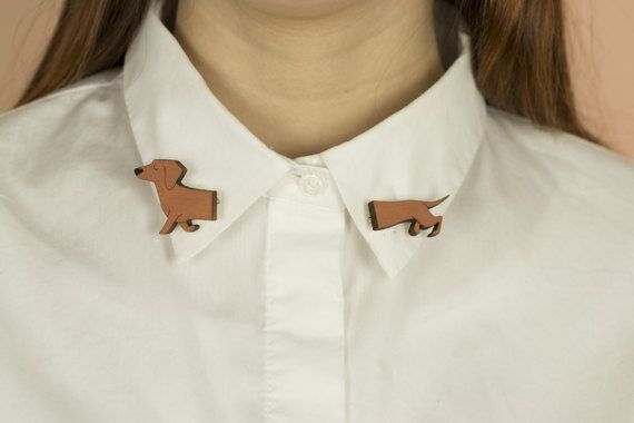 Wooden COLLAR pins, lasercut: Dachshund dog
