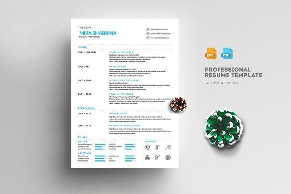 Resume/CV Template Pinterest Resume cv, Cv template and Template