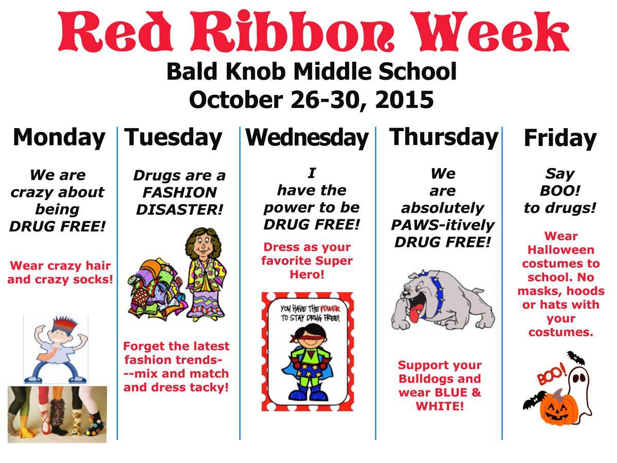 Red Ribbon Week Calendar Red Ribbon Week School Spirit Days School Guidance Counselor [ 900 x 1200 Pixel ]