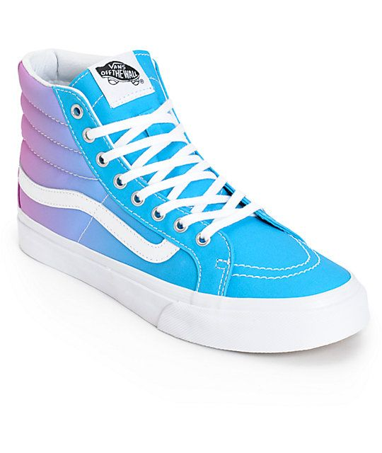 061358d22bb Add a pop of color to any outfit with these classic style high top shoes  that feature an ombre fade upper finished with true white Vans logo  detailing and a ...