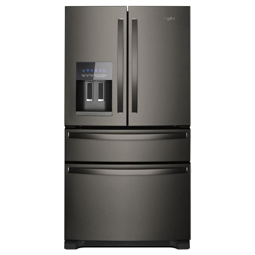 Whirlpool 25 Cu Ft French Door Refrigerator In Fingerprint Resistant Black Stainless Wrx735sdhv The Home Depot In 2020 French Door Refrigerator French Doors Stainless Steel French Door Refrigerator