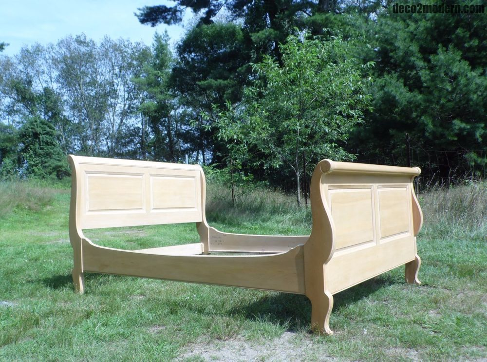 Vintage Ethan Allen Country French Bisque Birch Full Double Sleigh Bed Frenchcountry Ethlen