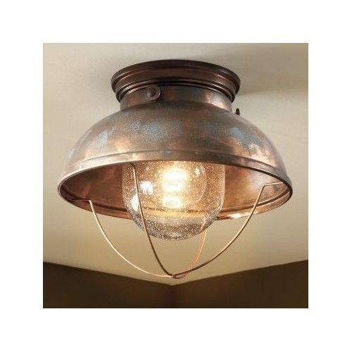 Rustic Outdoor Look Ceiling Light Fixture Weathered Copper Look Indoor Lighting Rustic Ceiling Lights Rustic Light Fixtures Copper Lighting