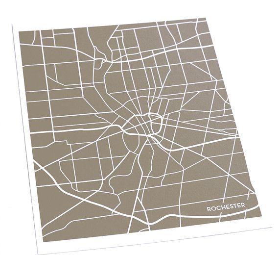 Rochester, NY Street Map Art Print / New York Map