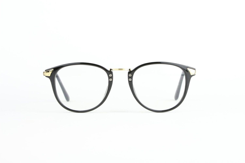 Schwarz Panto Vintage Brille Gold Vintage Eyeglasses Hipster retro ...