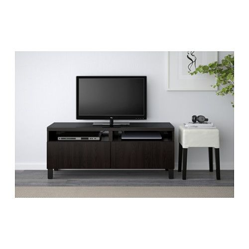 "BESTÅ TV unit with drawers - Lappviken black-brown, 47 1/4x15 3/4x18 7/8 "", drawer runner, soft-closing - IKEA"
