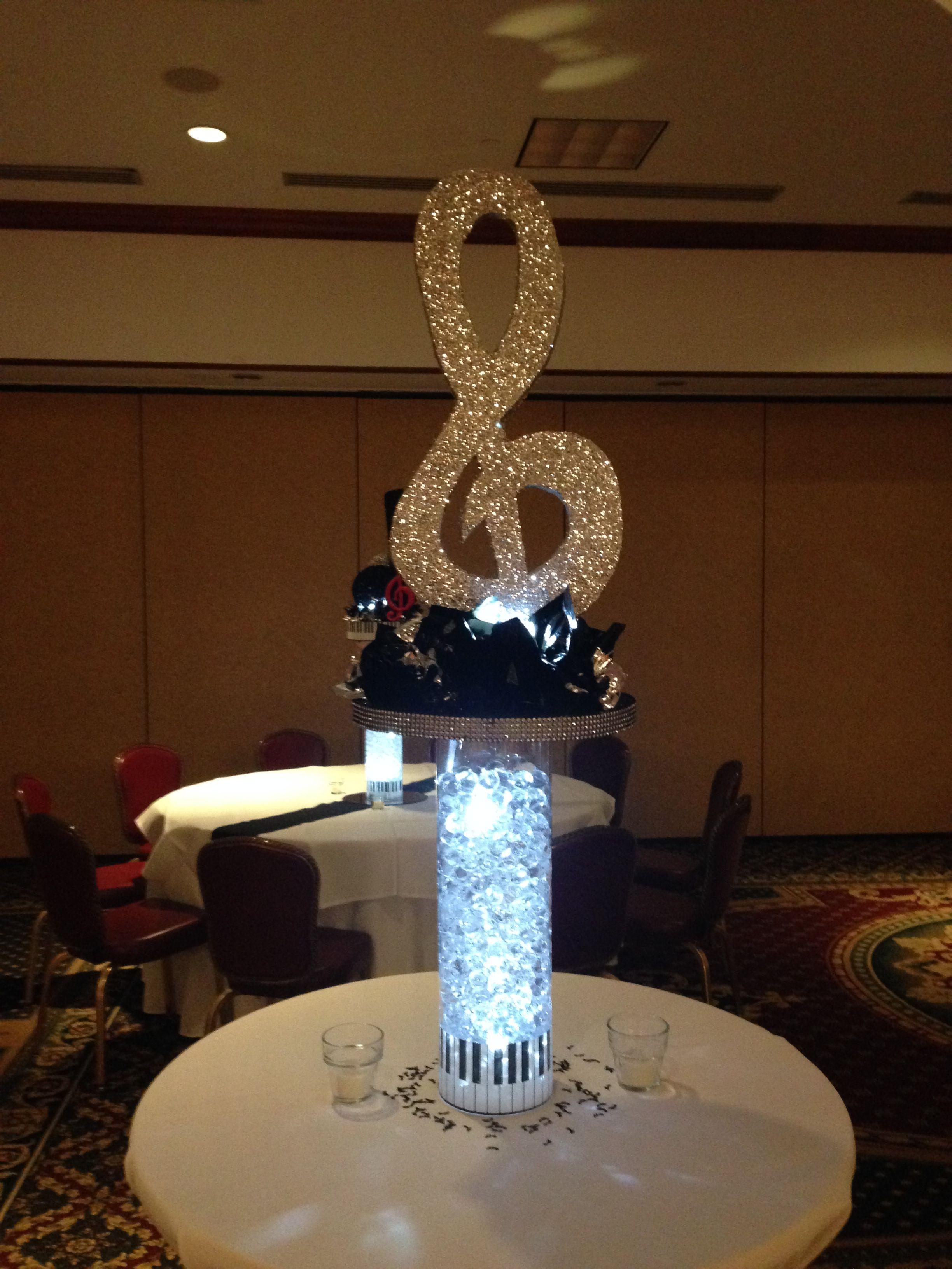 Treble clef music theme centerpiece bar mitzvah
