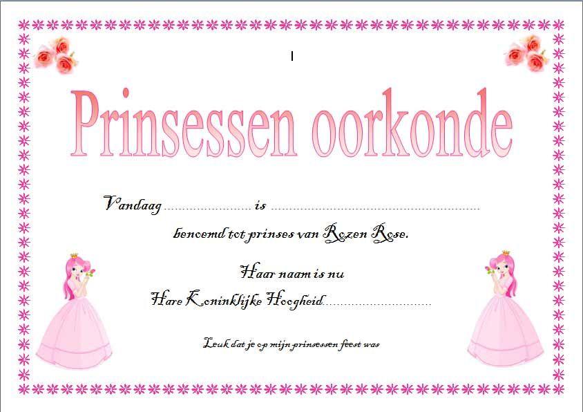 Verwonderlijk prinsessendiploma | Prinsessenfeestje spelletjes, Prinsessenfeest BQ-83