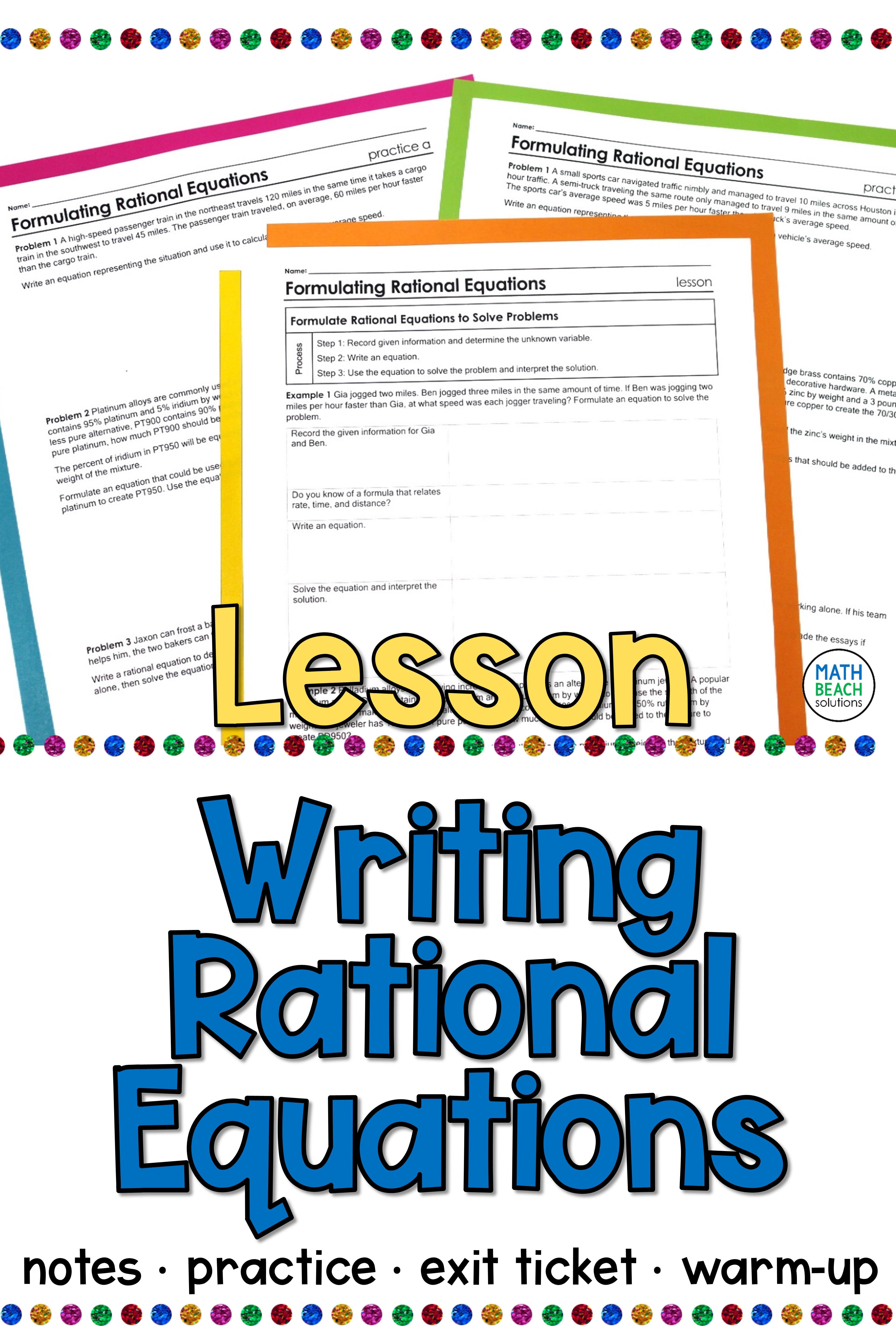 Formulating Rational Equations Lesson