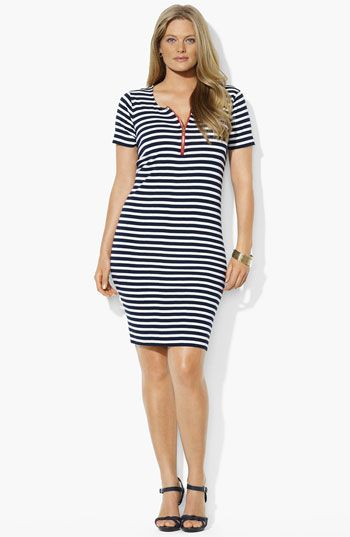 Lauren Ralph Lauren Zip Front Stripe Dress (Plus) available at Nordstrom