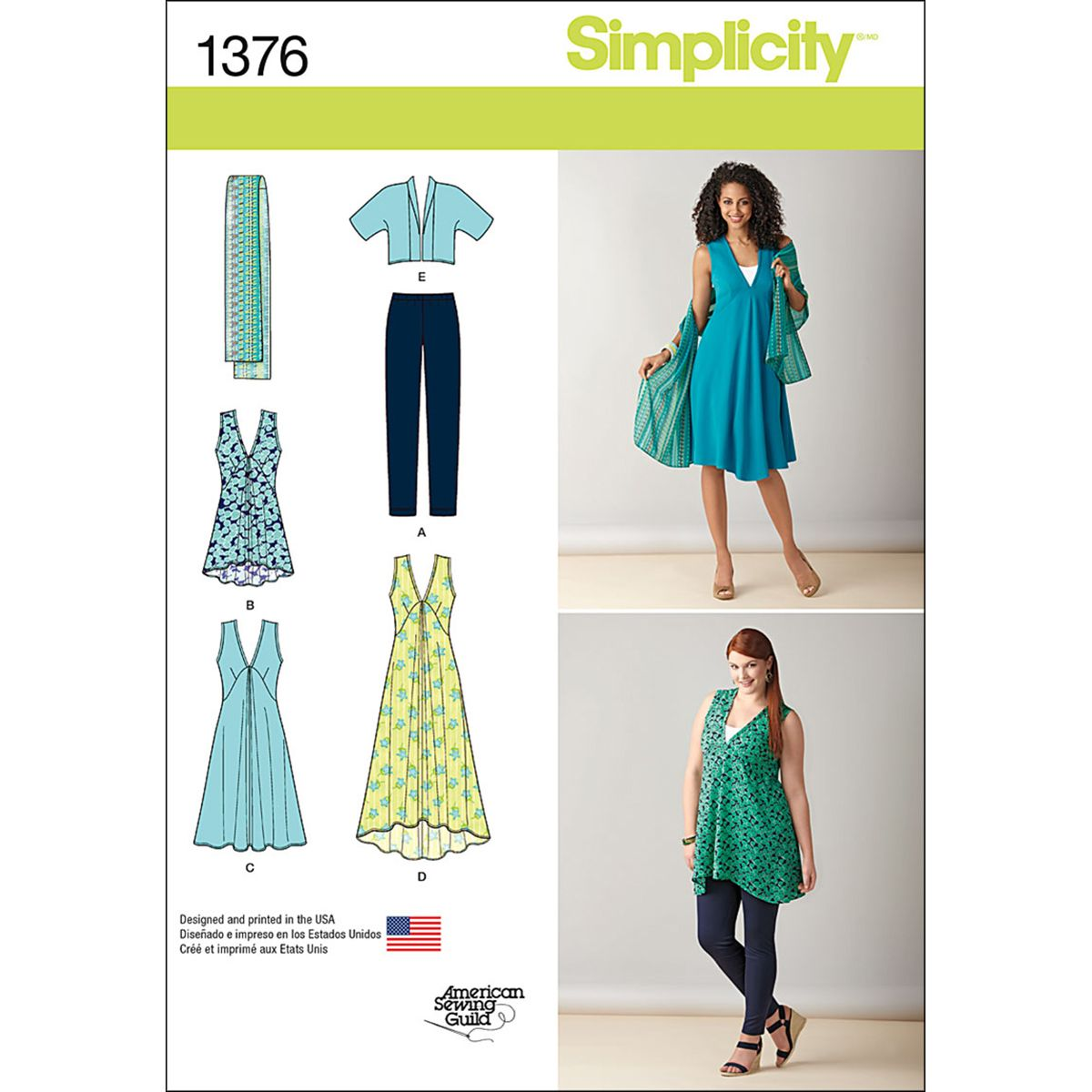 Simplicity pattern 1376bb 20w 28w misses sportswear sewing view simplicity misses plus size jacket dress tunic scarf and leggings size bb and more of our misses patterns shop our huge selection of thread jeuxipadfo Choice Image