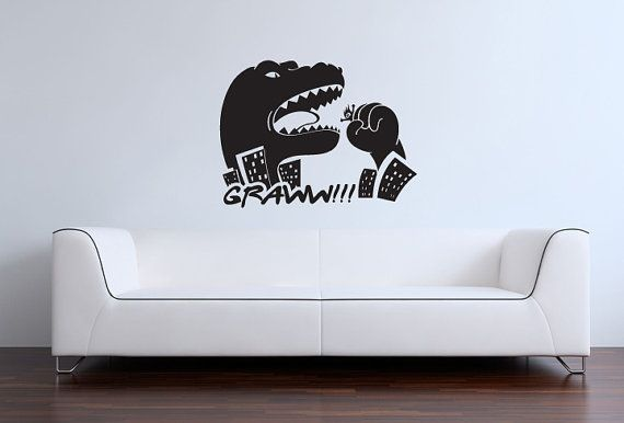 godzilla vinyl wall art/decal t-rex dinosaur | for the home
