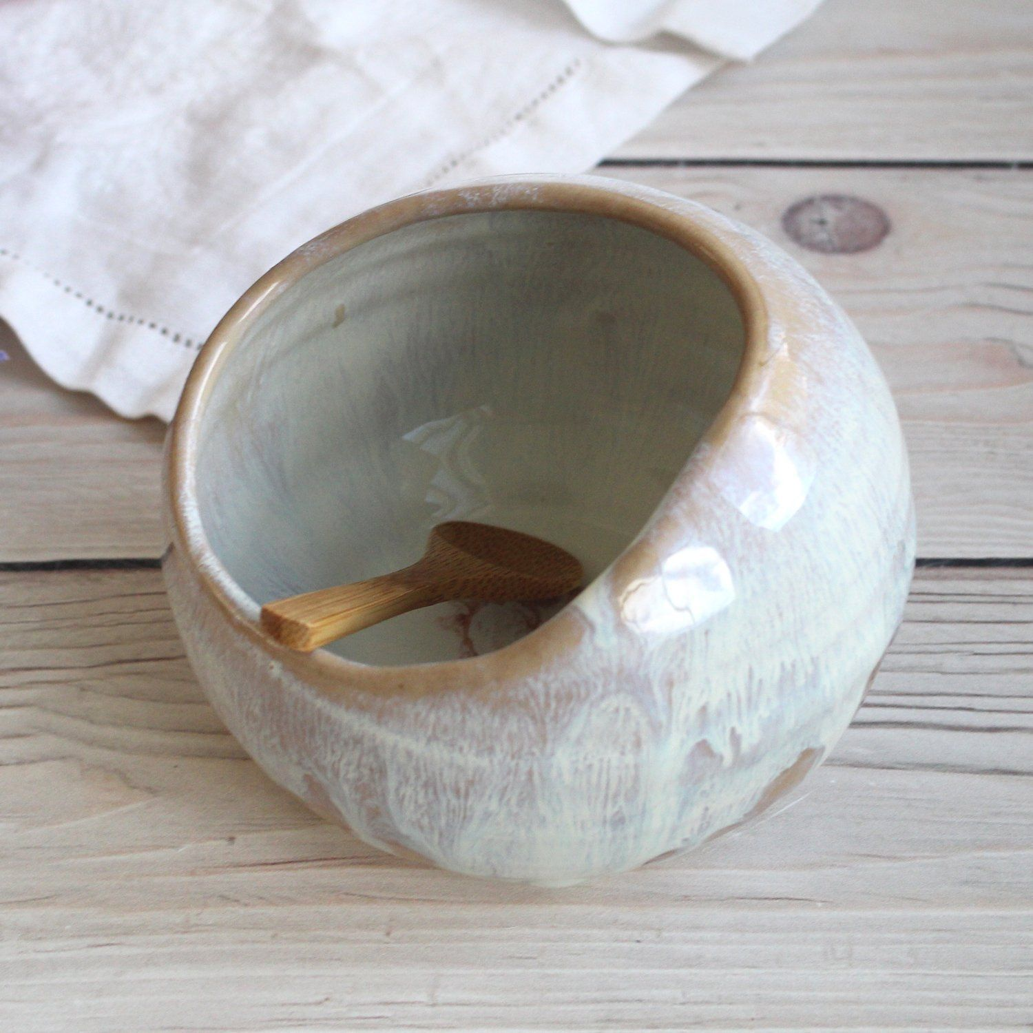 Ceramic Salt Cellar in Rustic White and Ocher Dripping Glaze, Handcrafted Made in USA